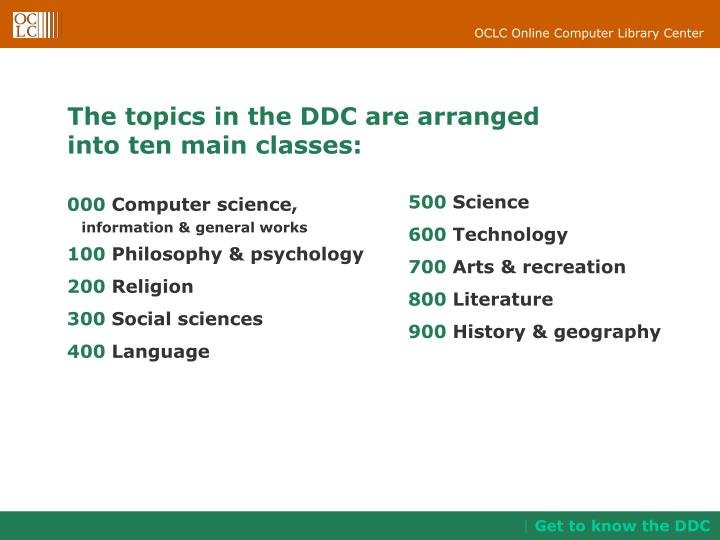 The topics in the DDC are arranged
