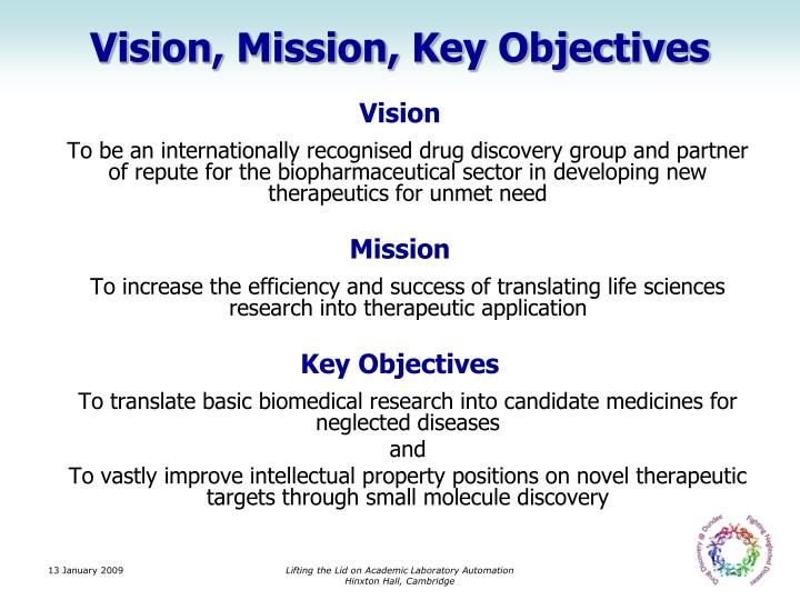Vision, Mission, Key Objectives