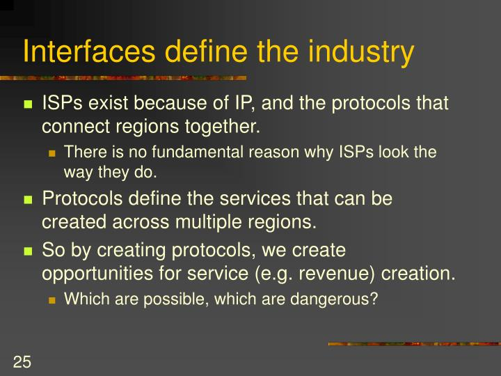 Interfaces define the industry