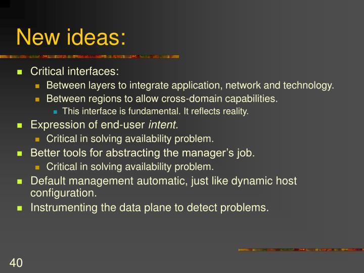 New ideas:
