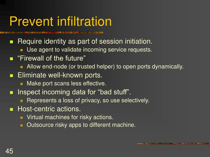 Prevent infiltration