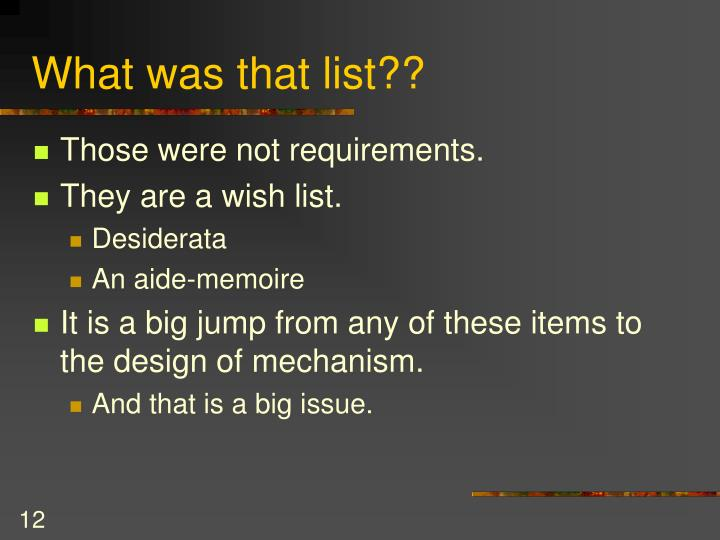 What was that list??