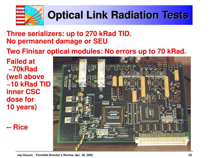 Optical Link Radiation Tests
