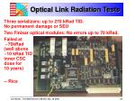 optical link radiation tests