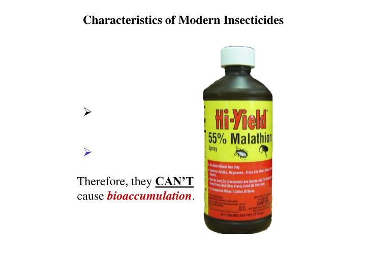 Characteristics of Modern Insecticides