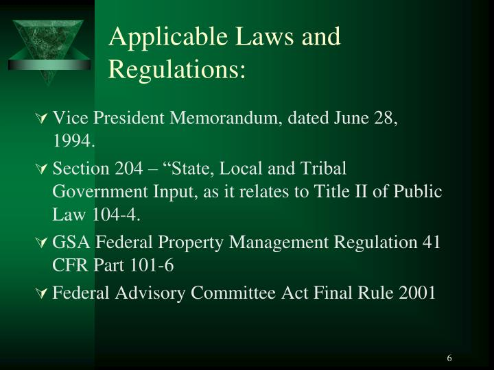 Applicable Laws and Regulations: