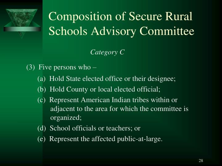 Composition of Secure Rural Schools Advisory Committee
