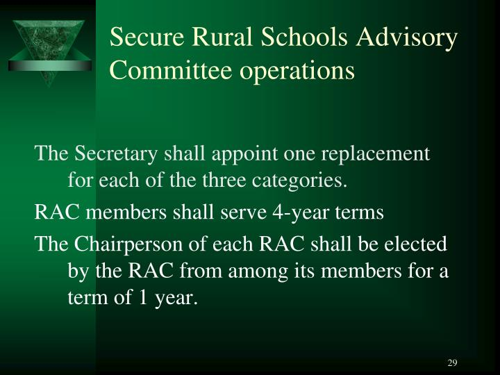Secure Rural Schools Advisory Committee operations