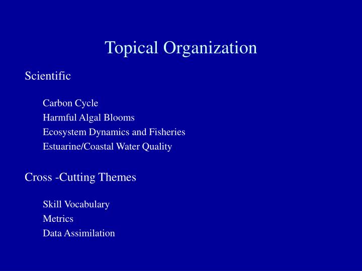 Topical organization