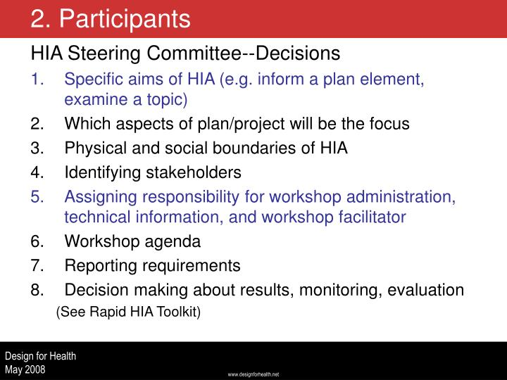 HIA Steering Committee--Decisions
