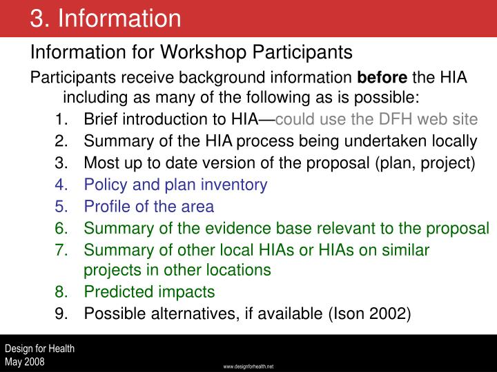Information for Workshop Participants