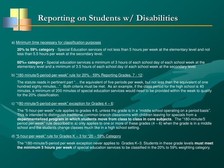 Reporting on Students w/ Disabilities