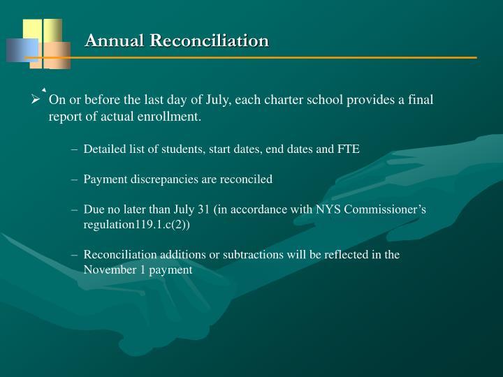 Annual Reconciliation