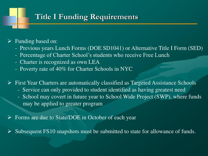 Title I Funding Requirements