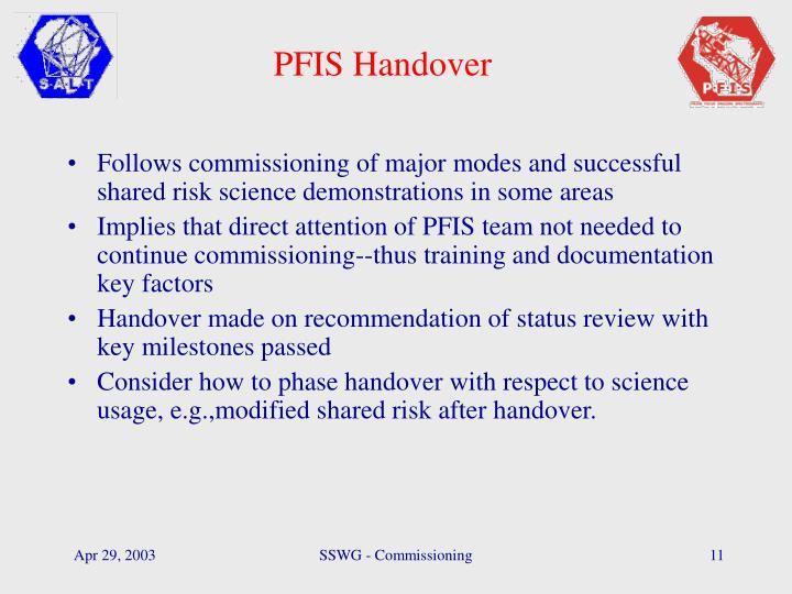 PFIS Handover
