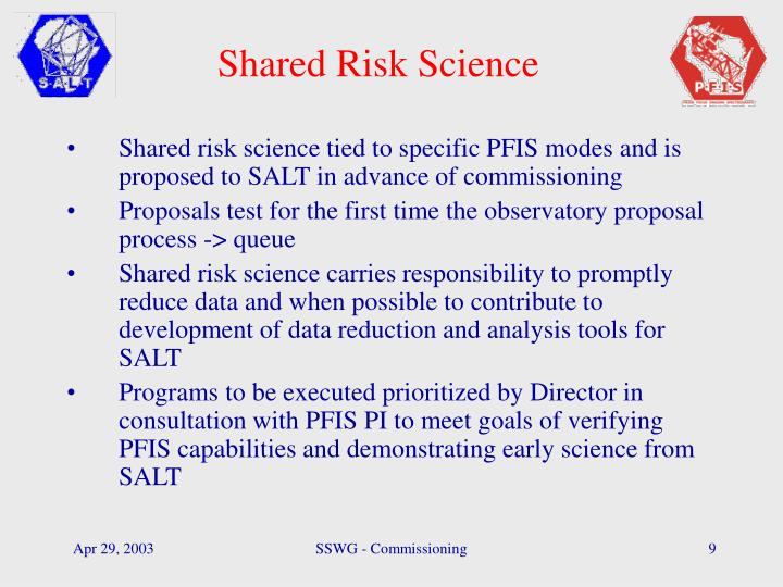 Shared Risk Science