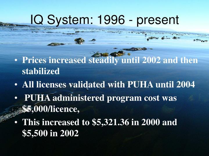 IQ System: 1996 - present
