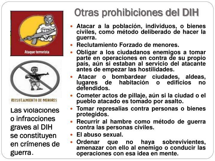 Otras prohibiciones del DIH