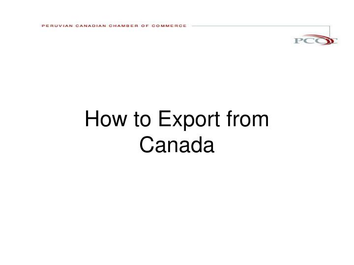 How to export from canada