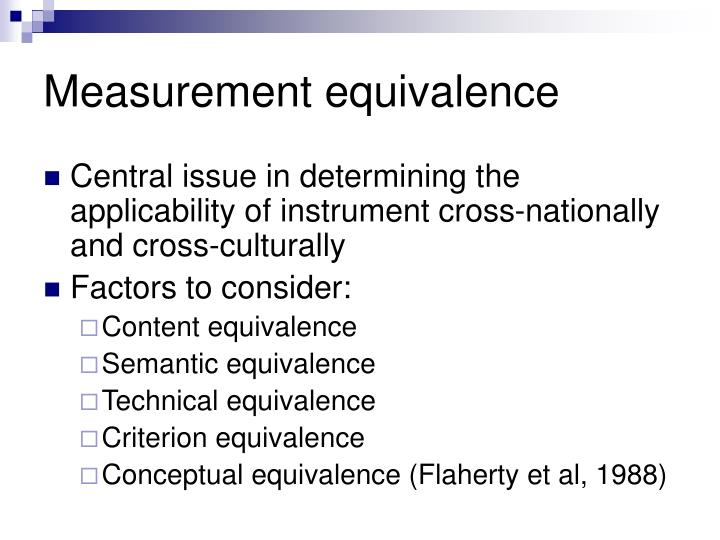 Measurement equivalence