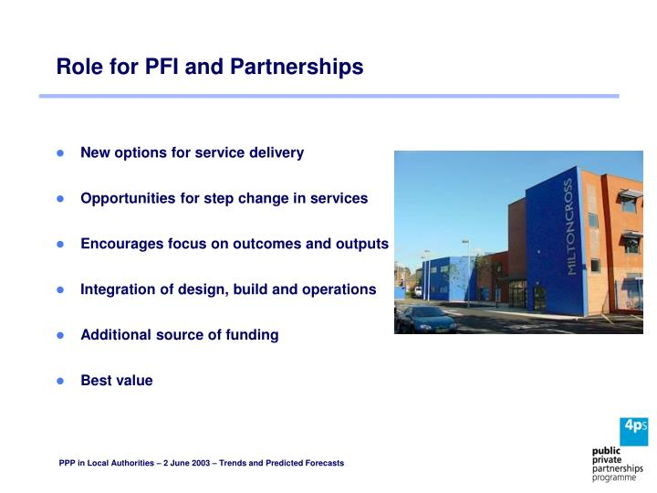 Role for PFI and Partnerships