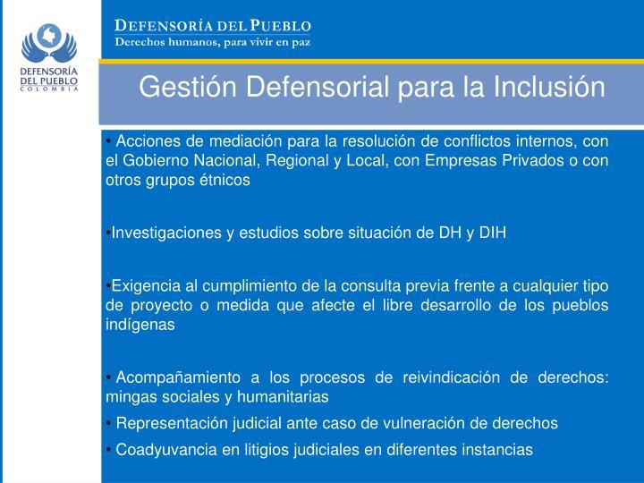 Gestión Defensorial para la Inclusión