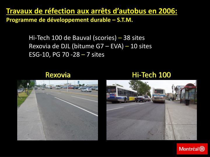 Travaux de réfection aux arrêts d'autobus en 2006: