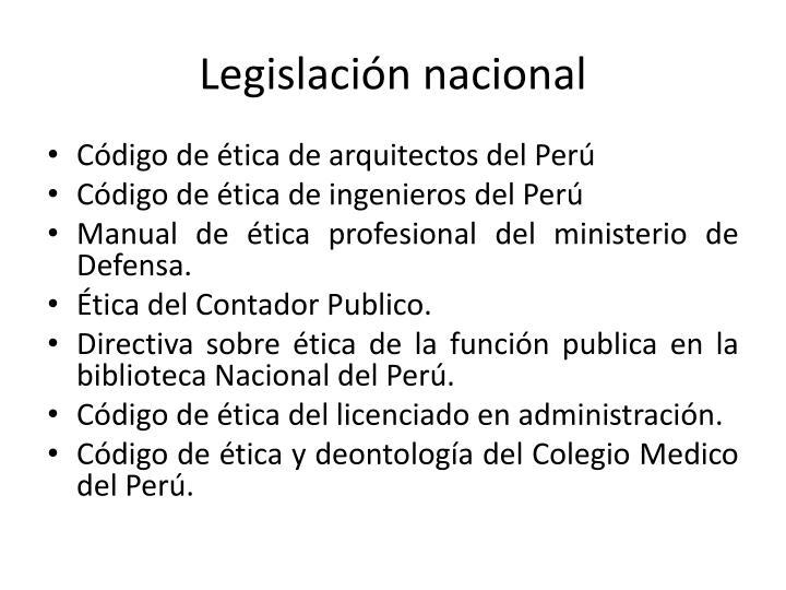 Legislación nacional