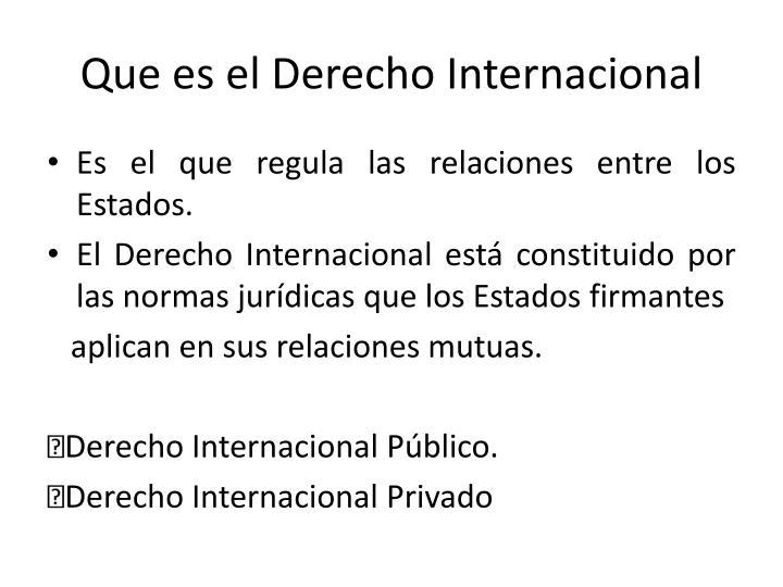 Que es el Derecho Internacional