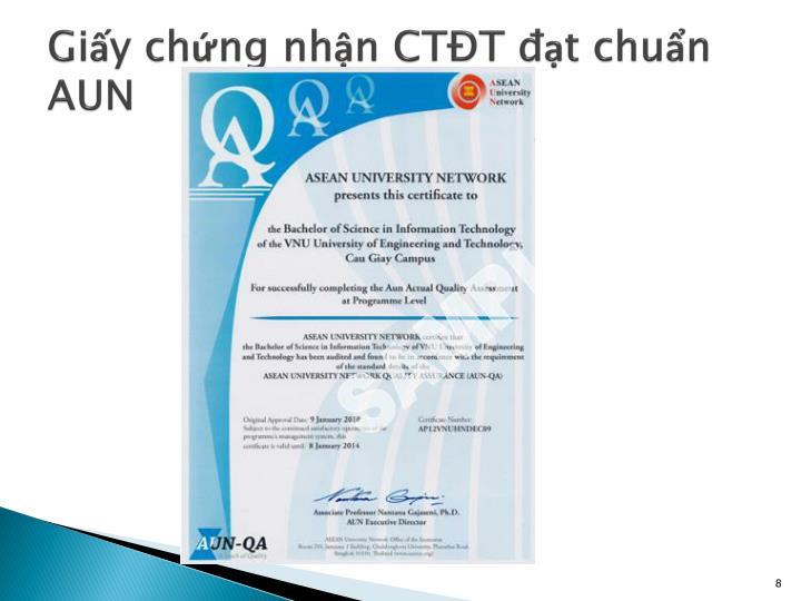 Giấy chứng nhận CTĐT đạt chuẩn AUN