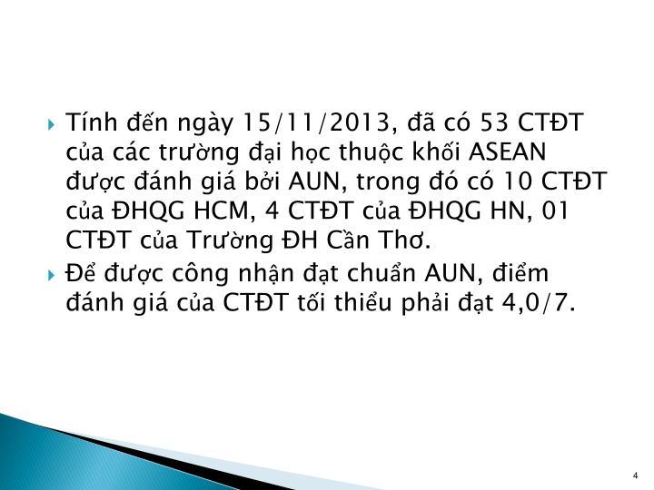 Tính đến ngày 15/11/2013, đã có 53 CTĐT của các trường đại học thuộc khối ASEAN được đánh giá bởi AUN, trong đó có 10 CTĐT của ĐHQG HCM, 4 CTĐT của ĐHQG HN, 01 CTĐT của Trường ĐH Cần Thơ.