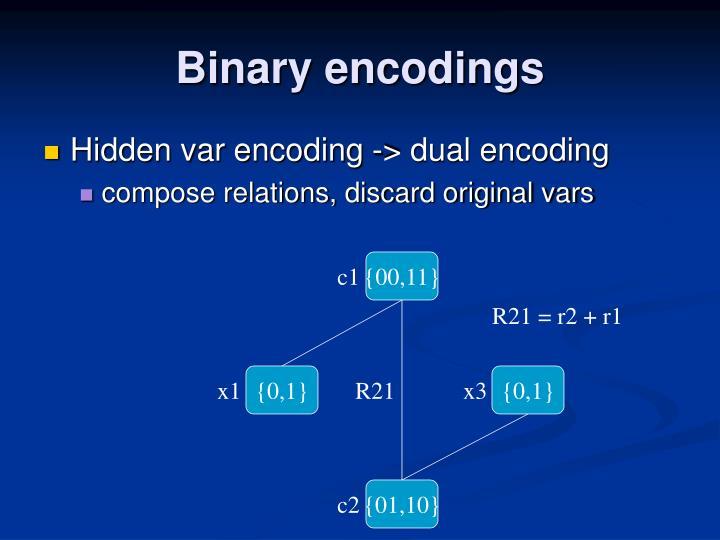 Binary encodings