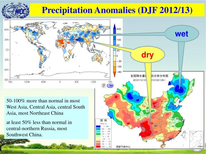 Precipitation Anomalies (DJF 2012/13)