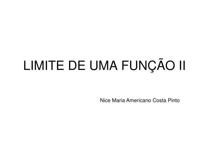 LIMITE DE UMA FUNÇÃO II