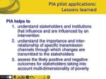 pia pilot applications lessons learned1