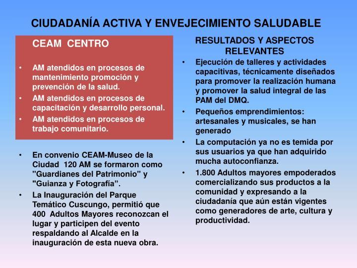 CIUDADANÍA ACTIVA Y ENVEJECIMIENTO SALUDABLE