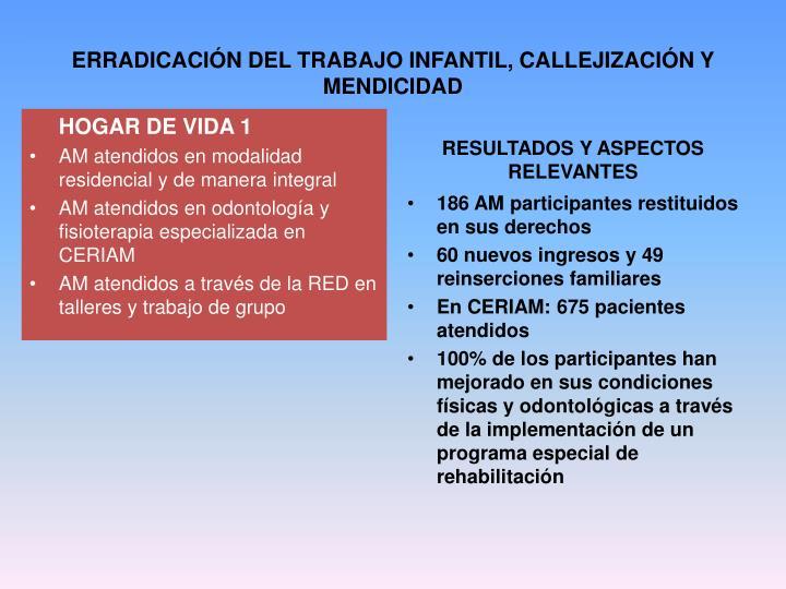 ERRADICACIÓN DEL TRABAJO INFANTIL, CALLEJIZACIÓN Y MENDICIDAD