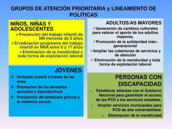GRUPOS DE ATENCIÓN PRIORITARIA y LINEAMIENTO DE POLÍTICAS