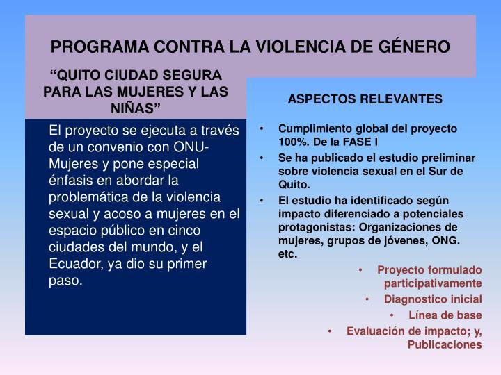 PROGRAMA CONTRA LA VIOLENCIA DE GÉNERO