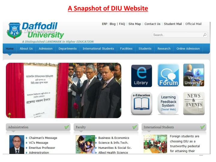 A Snapshot of DIU Website