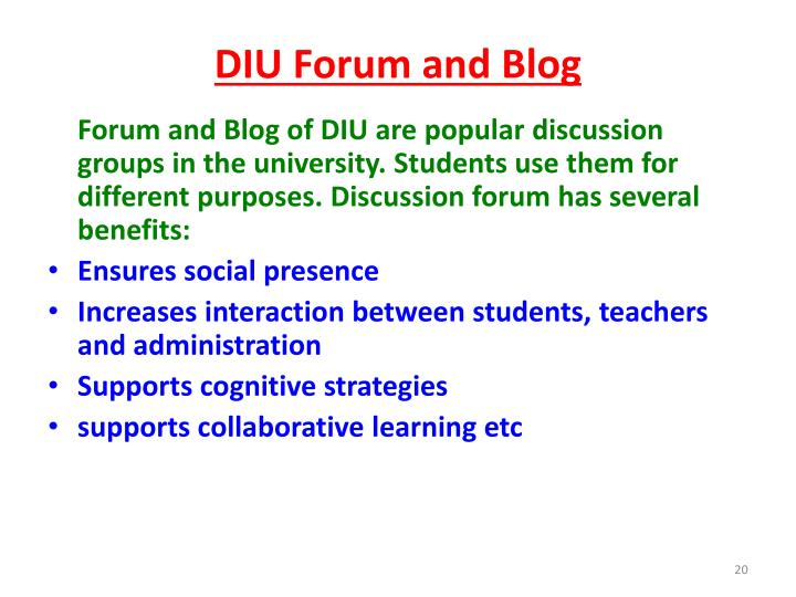 DIU Forum and Blog