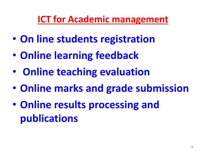 ICT for Academic management