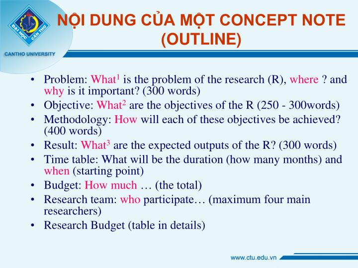 NỘI DUNG CỦA MỘT CONCEPT NOTE (OUTLINE)