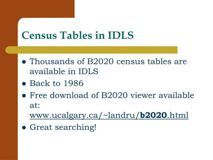 Census Tables in IDLS