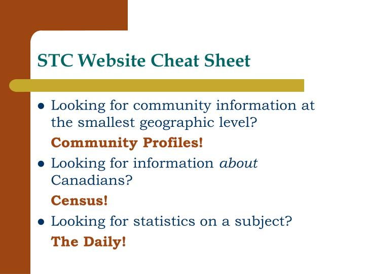 STC Website Cheat Sheet