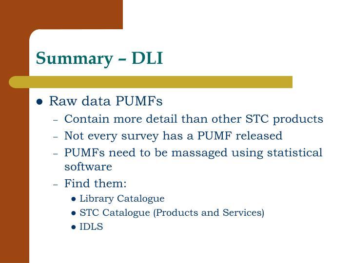 Summary – DLI