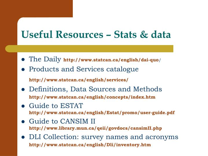 Useful Resources – Stats & data