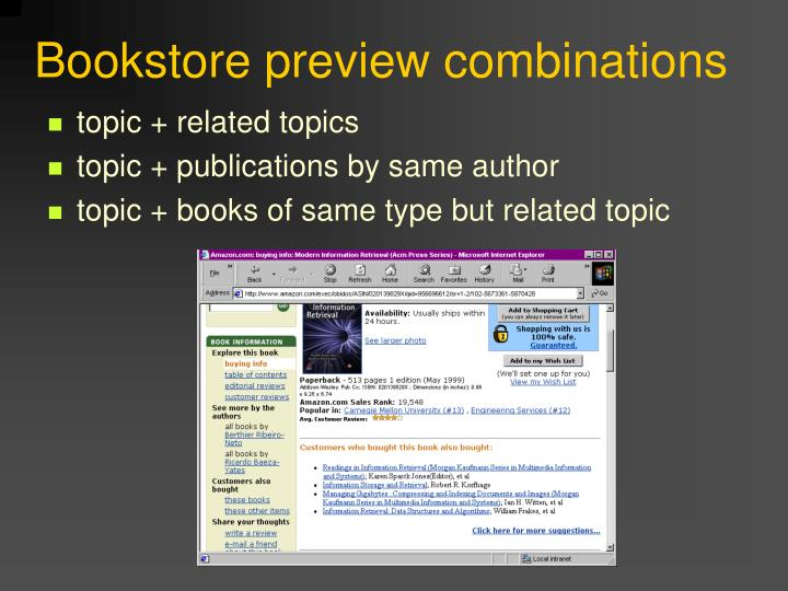 Bookstore preview combinations