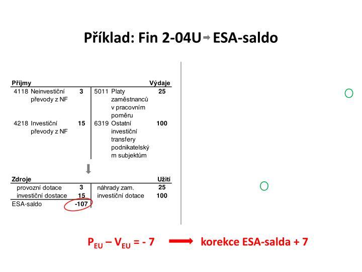 Příklad: Fin 2-04U   ESA-saldo