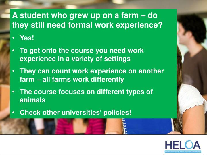 A student who grew up on a farm – do they still need formal work experience?